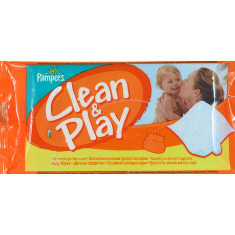 Pampers Мокри кърпи Clean & Play 2x64 бр.  0202329